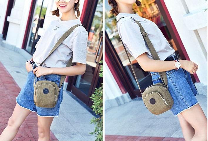 Túi đeo chéo cho nữ bằng vải bố là kiểu túi thời trang, kết hợp với trang phục dạo phố trẻ trung, vừa đựng được mọi vật dụng cần thiết, vừa sành điệu.