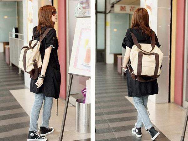 Túi vải bố 2in1 với thiết kế tiện dụng, sử dụng trong nhiều hoàn cảnh và phối với nhiều loại trang phục khác nhau