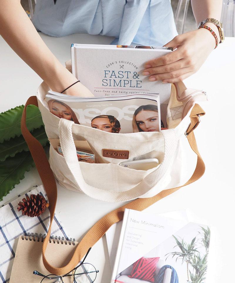 Túi vải canvas cotton có kiểu dáng thời trang với nhiều màu sắc, kích cỡ, phù hợp với mọi nhu cầu sử dụng