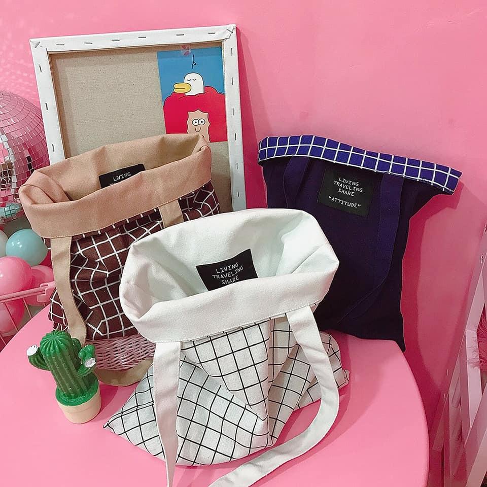 Túi vải canvas sử dụng 2 mặt với chất liệu, thiết kế bền chắc đáp ứng việc chứa đựng đồ